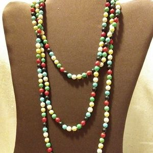 Opera Length multi Color Wood Bead Gold Necklace